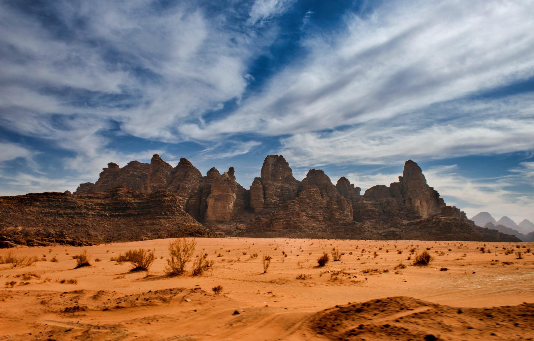 Montagne nel deserto del Wadi Rum