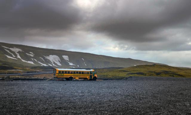 Un bus nei pressi di Eyjafjallajökull